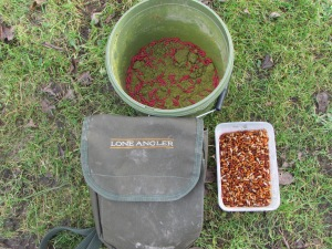 Groundbait laced with maggots, a tub of casters and a good quality bait pouch.